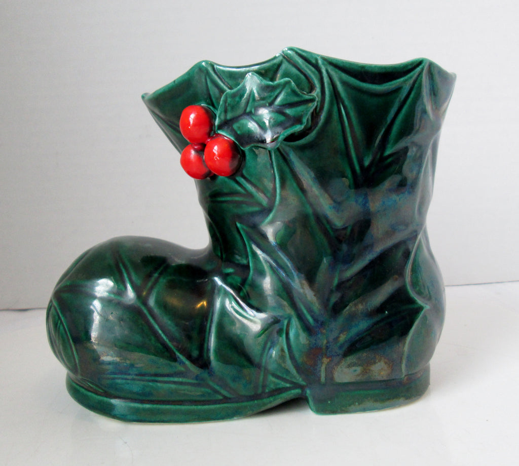 Vintage Lefton Green Hollyberry Boot Planter