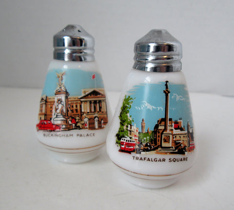 Vintage London Souvenir Milk Glass Salt and Pepper Shakers