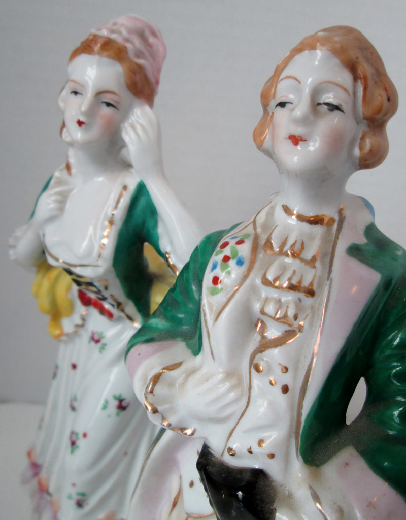 Occupied Japan Colonial Couple Figurines Green Yellow 9 Inch