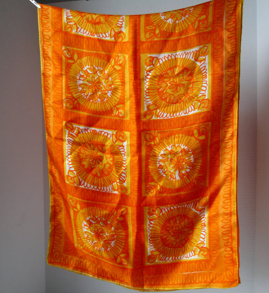 Vintage Vera Neumann Silk Scarf Long Bright Orange 1970s