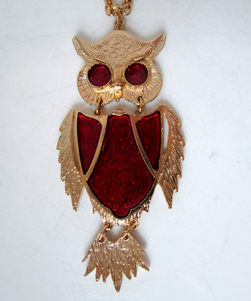 Vintage Owl Necklace Articulated Gold-tone Red Enamel Shield