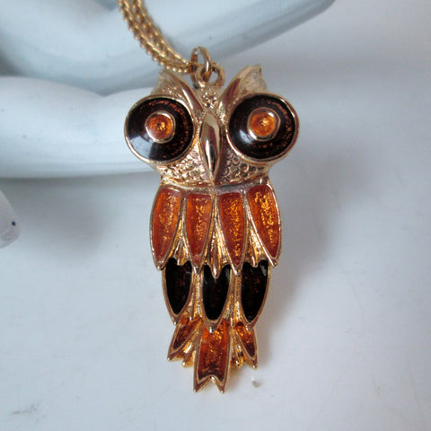 Vintage Owl Necklace Petite Articulate Orange and Brown Enamel