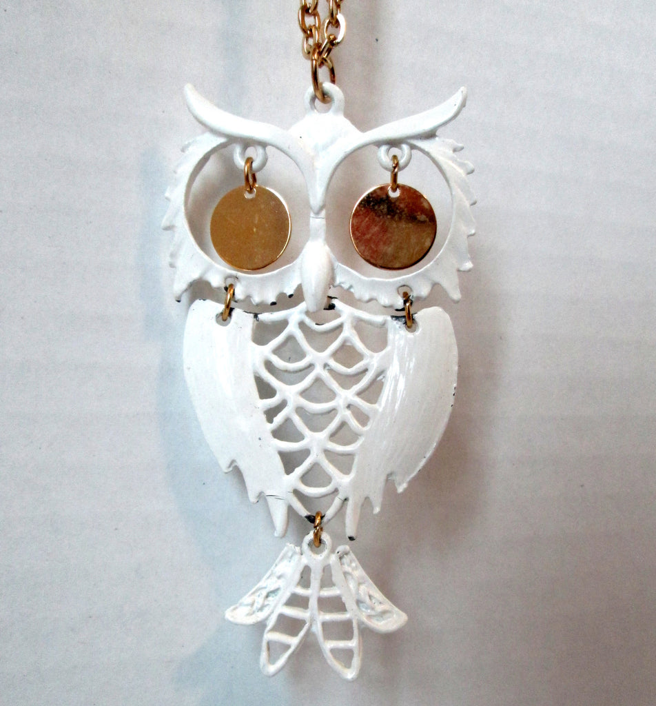 Vintage Owl Necklace Articulated White Enamel Gold-tone Dangle Eyes