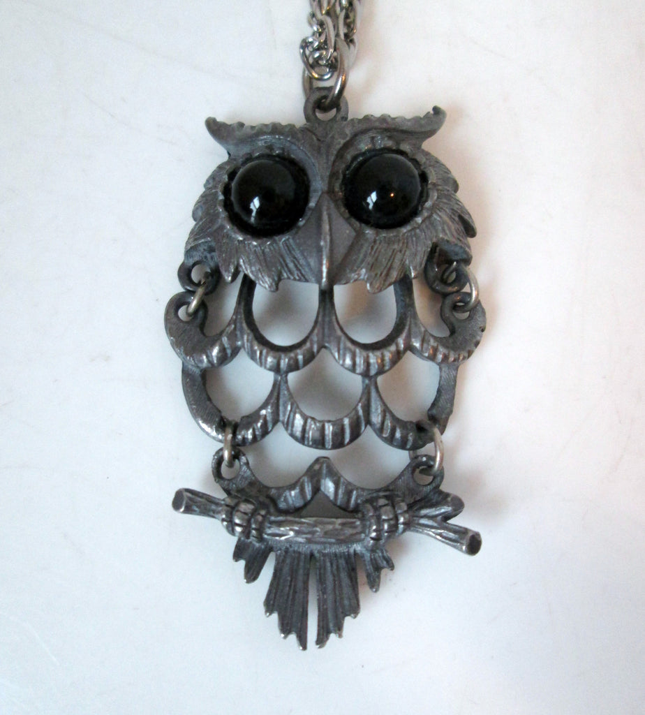Vintage Owl Necklace Articulated Pewter-tone Black Eyes