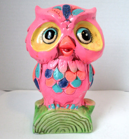 Vintage Owl Bank Paper Mache Bright Pink by Holiday 1969