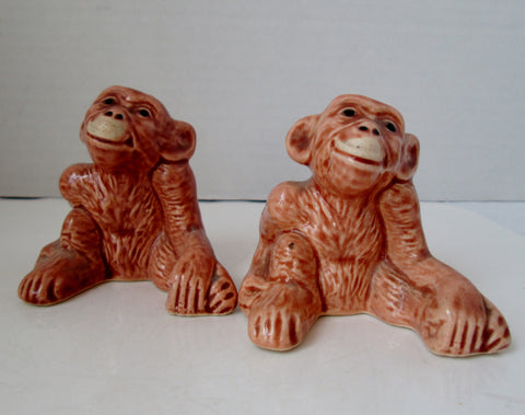 Vintage Chimpanzee Monkey Salt and Pepper Shakers