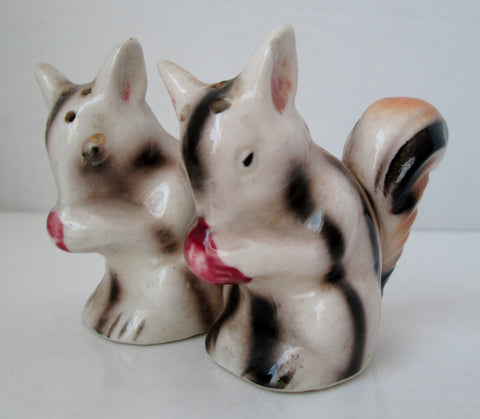 Vintage Squirrel Salt and Pepper Shakers Japan