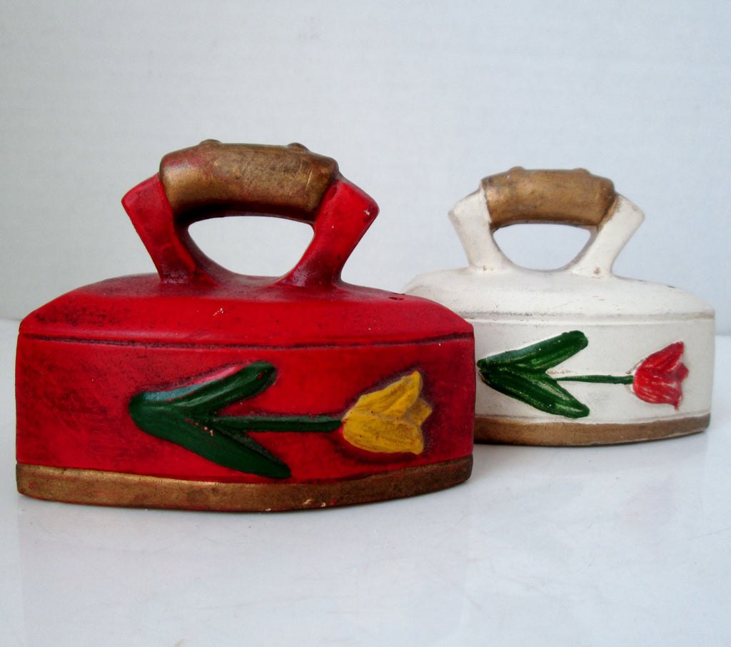 Vintage Clothes Iron Salt and Pepper Shakers Red and White with Tulips
