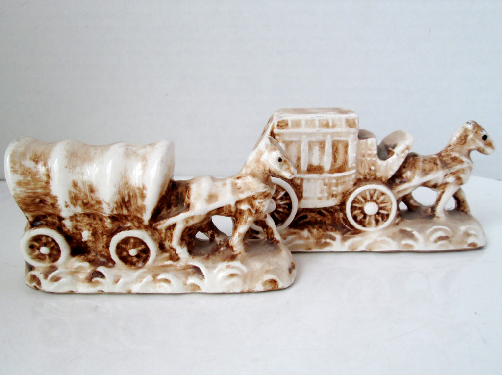 Vintage Old West Covered Wagon and Stagecoach Salt and Pepper Shakers