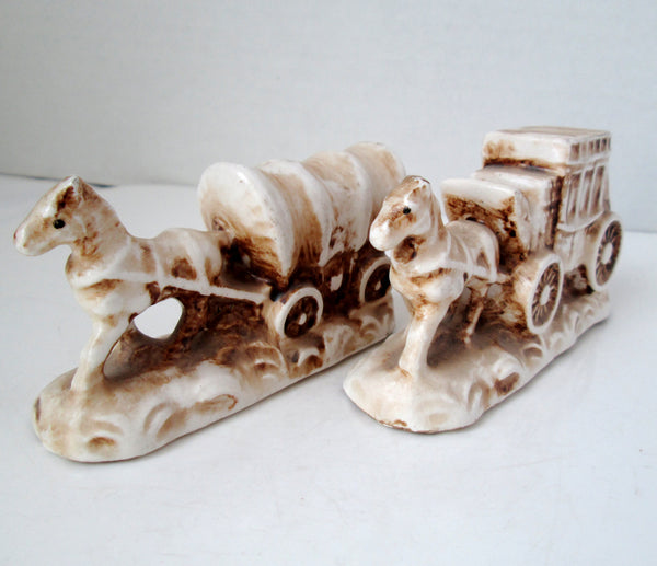 Vintage Old West Covered Wagon And Stagecoach Salt And