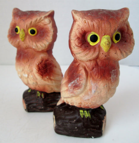 Vintage Owl Salt and Pepper Shakers Brown Airbrushed Finish Japan