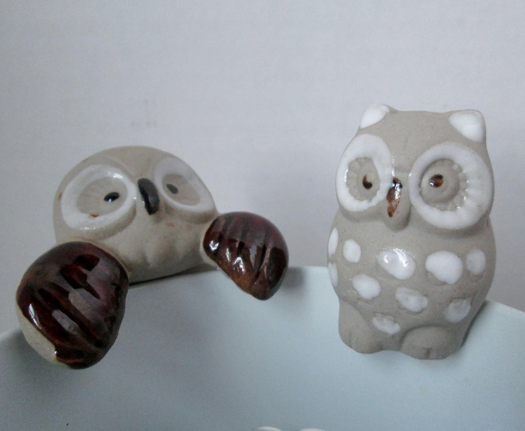 Vintage Owl Flower Pot Sitters Set of 2