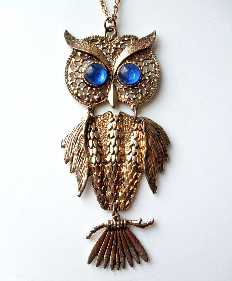 Vintage Owl Necklace Articulated Gold-tone Transparent Blue Cabochon Eyes