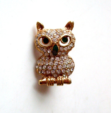 Vintage Owl Brooch Pave Rhinestone Green Eyes by Roman