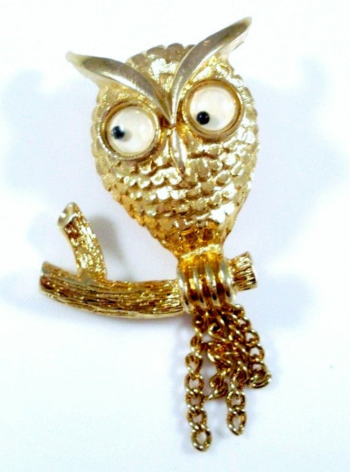 Vintage Owl Brooch Googly Eye by Avon