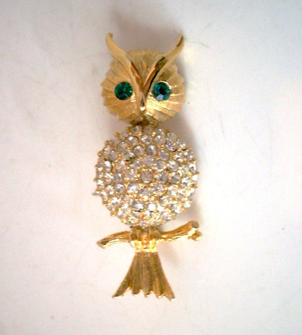 Vintage Owl Brooch Clear Pave Rhinestone Chest Green Eyes