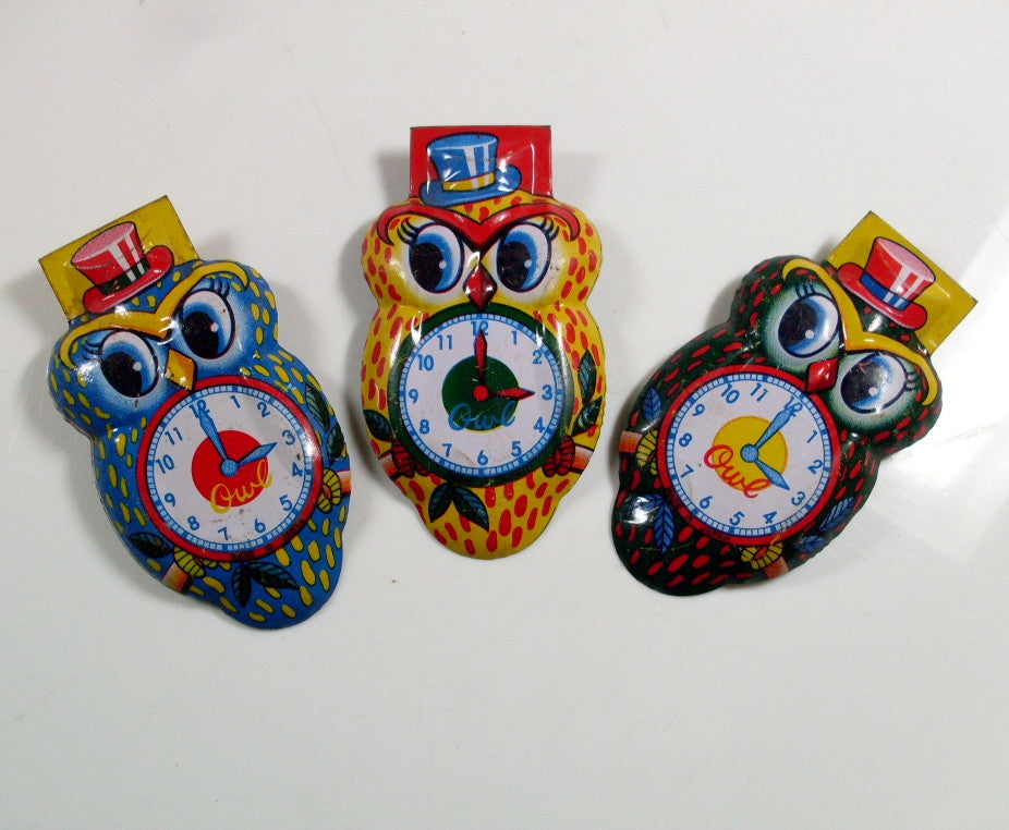 vintage owl clicker noisemakers