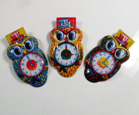 Vintage Owl Tin Clickers New Year's Noisemakers Set of 3 Made in Japan