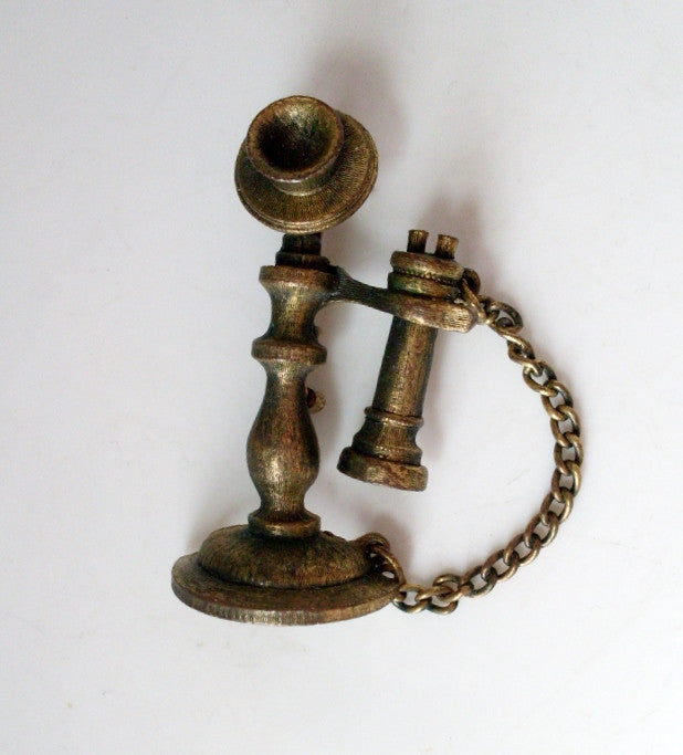 Vintage Brooch Candlestick Style Phone Gold Tone