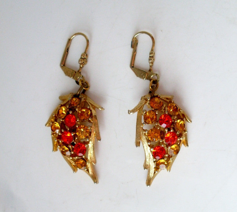 vintage rhinestone leaf dangle earrings