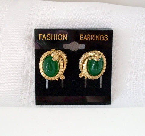 Vintage Clip on Earrings Jade Green Gold-tone Dragon