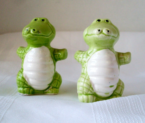 Vintage Green Alligator Salt and Pepper Shakers