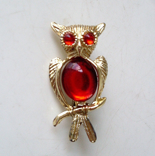 vintage goldtone owl red