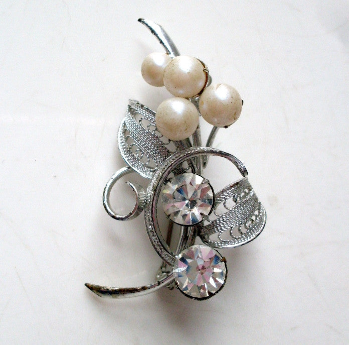 Vintage Flower Brooch Siver-tone Clear Rhinestone and Pearl Accents