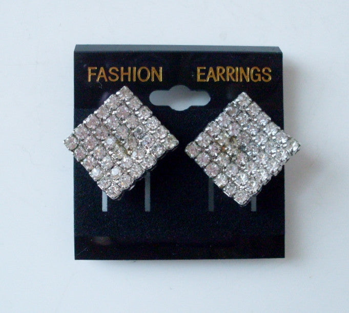 Vintage Clear Rhinestone Square Clip On Earrings