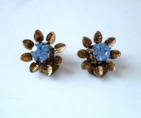 Vintage Flower Clip on Earrings Blue Rhinestone Gold Tone Austria