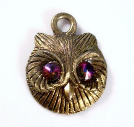Vintage Owl Head Necklace Gold-tone Purple Rhinestone Eyes