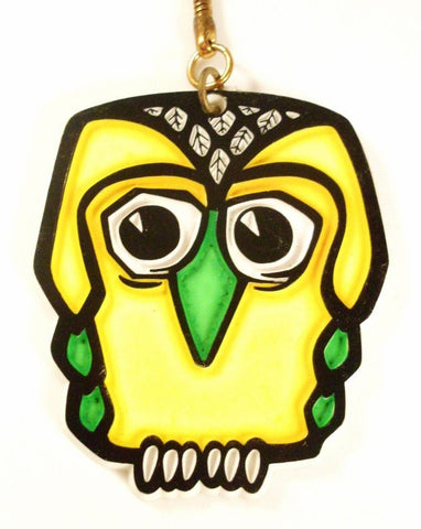 Vintage Owl Key Chain Kitsch Yellow and Green