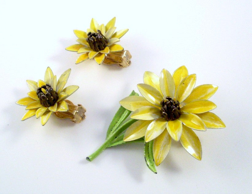 vintage enamel yellow flower brooch and earrings