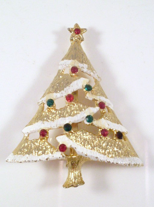 Vintage Christmas Tree Brooch Gold-tone Snow Lined
