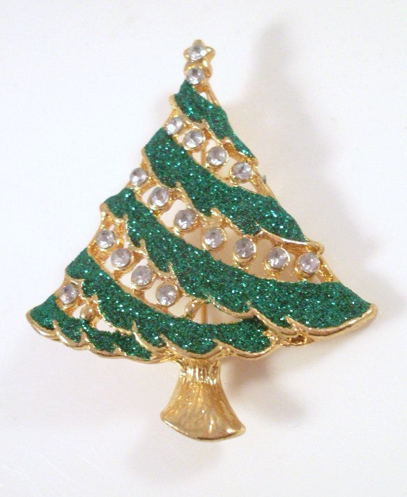 Vintage Christmas Tree Brooch Green Glitter and Clear Rhinestone