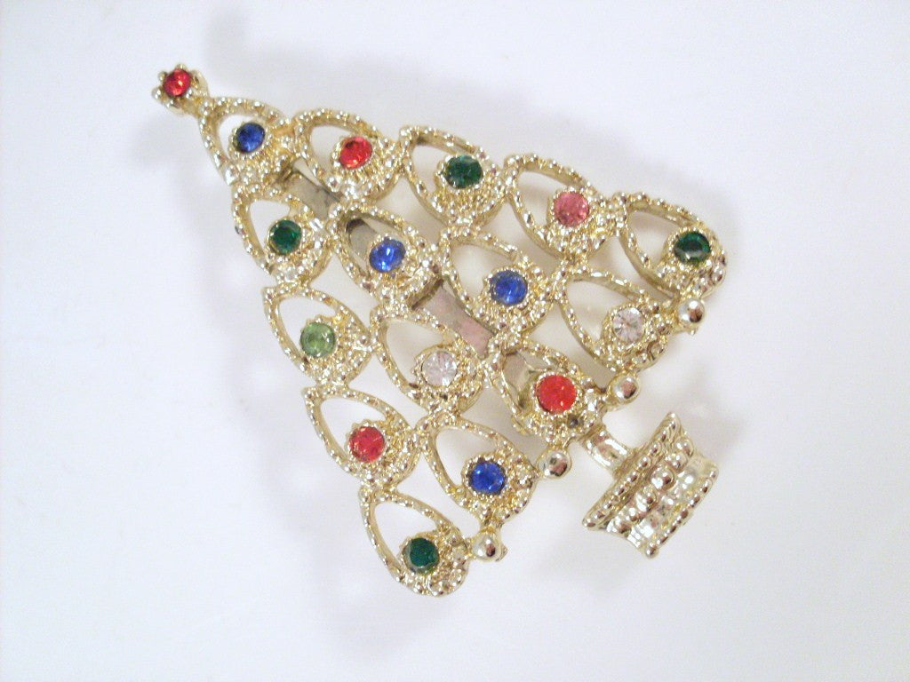 blue brooch christmas clear rhinestone gold with red piece pin vintage yellow tone book swirl accents vero product tree
