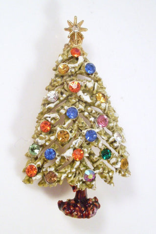 Vintage Christmas Tree Brooch Enamel and Rhinestone  by ART