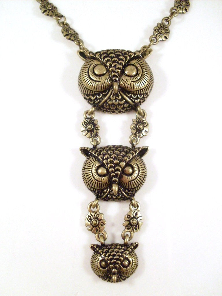 Owl Head Necklace Bronzetone Chandelier Style