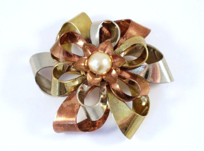 Vintage Ribbon Bow Brooch Tri-Color Metal