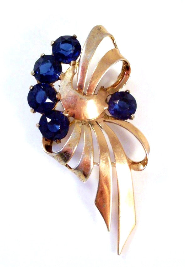 Vintage Brooch Gold Tone Ribbon Blue Rhinestones