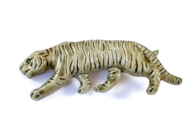 vintage tiger brooch green italy