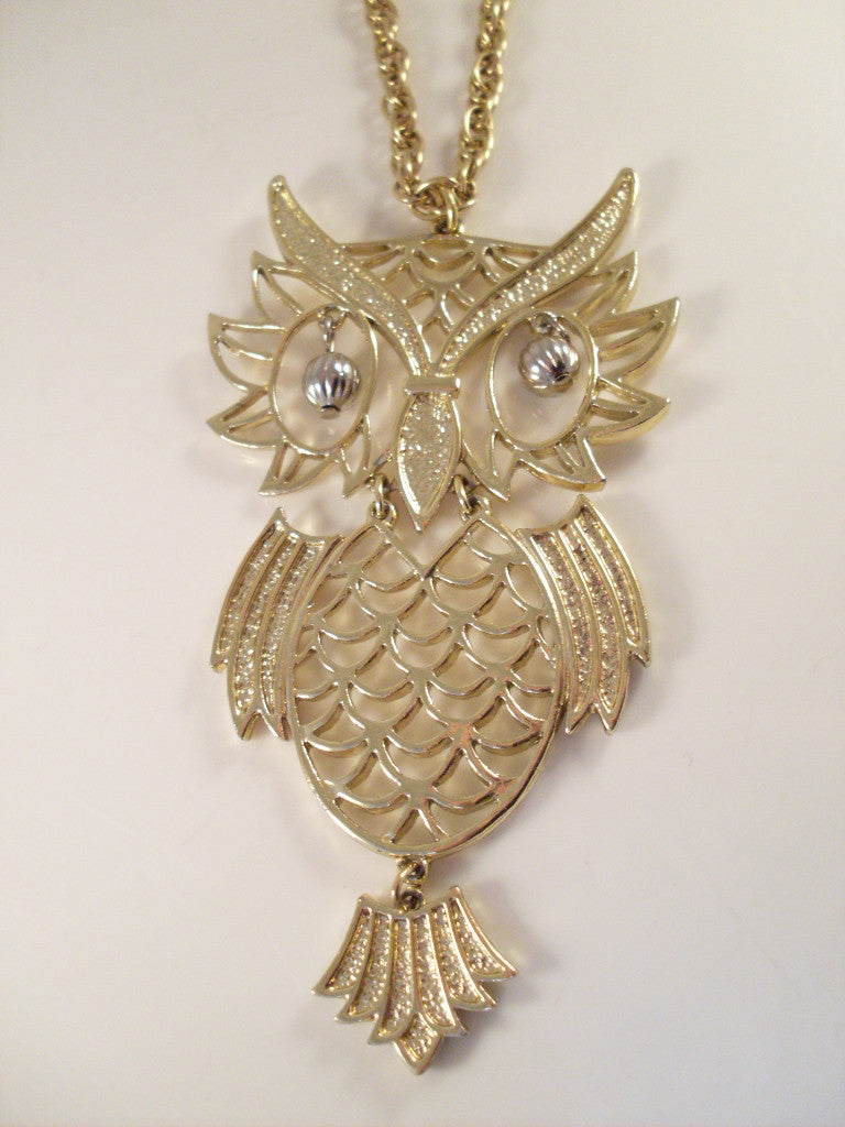 Large Vintage Owl Necklace Articulated Gold Tone with Dangle Eyes
