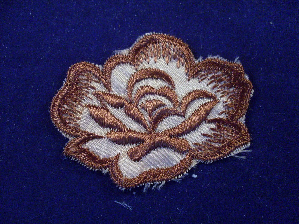 vintage sew on patch brown flower 1970s