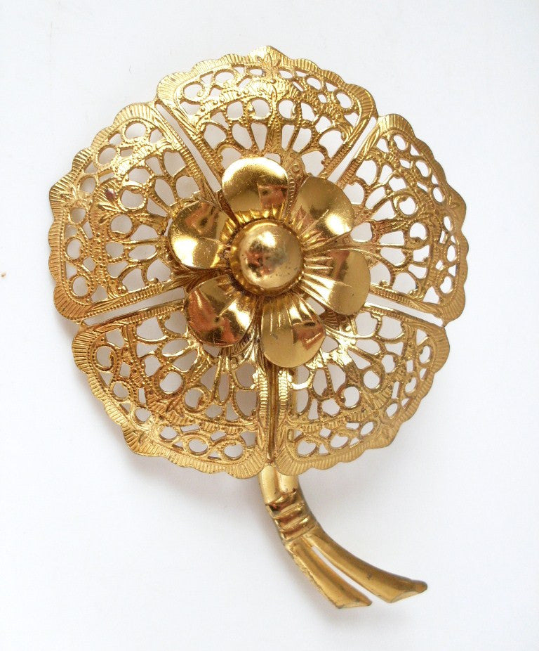 Vintage Flower Brooch Gold-tone Filigree