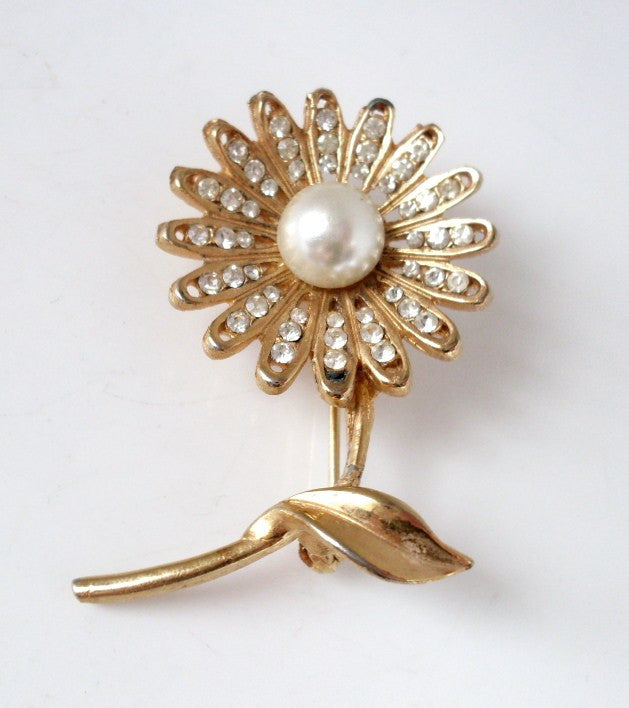 Vintage Flower Brooch Pearl Center Gold-tone and Clear Rhinestone