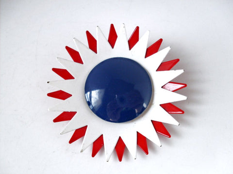 Vintage Mod Enamel Flower Brooch Red White and Blue