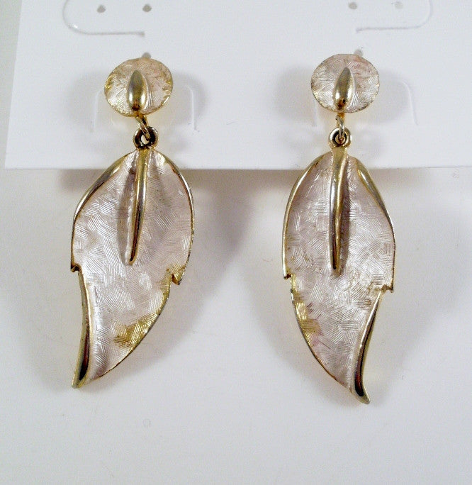 Vintage Goldtone and White Leaf Earrings by Parklane