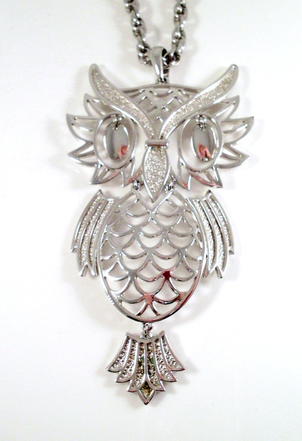 Vintage Owl Necklace Large Articulated Silver-tone