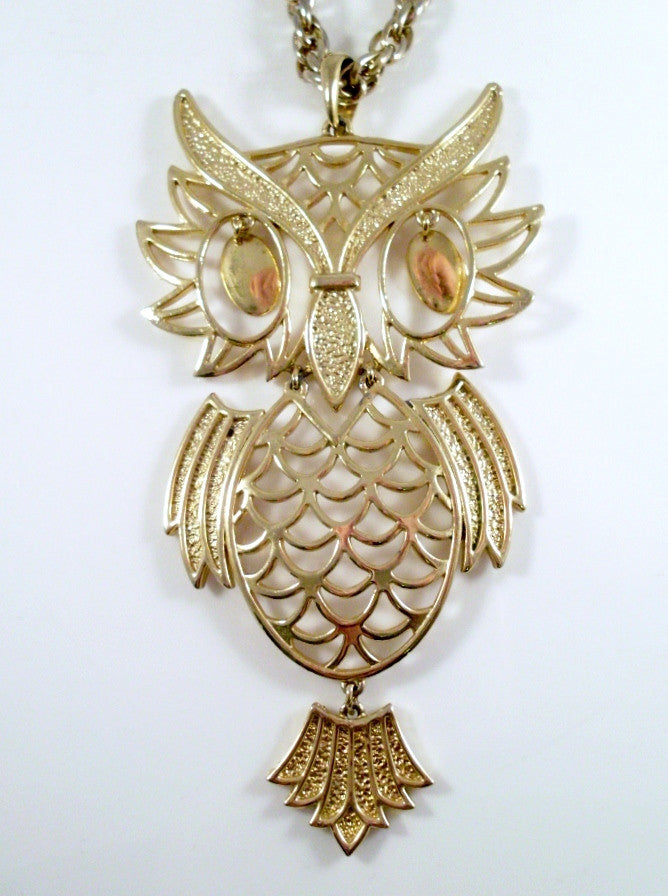Large Vintage Owl Necklace Articulated Gold Tone Oval Dangle Eyes