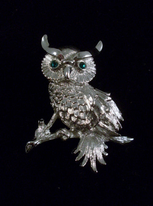 Vintage Owl Brooch on Branch Silver-tone Green Eyes